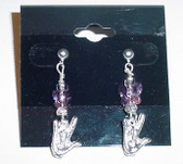 GlassBeads Silver Earring (Purple) with Butterfly and Silver ILY hand