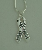 """Ribbon with """"I LOVE YOU"""" Tiny Hands, Necklace (Gold or Silver)"""