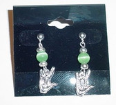 Cateye GlassBead (Lime Green) with Silver ILY Hand