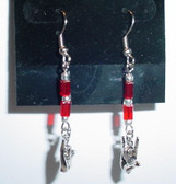 Cube GlassBead (Red) with Silver (Hook)  ILY Hand