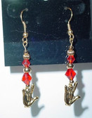 (Hook) GlassBead (RED) with Gold ILY Hand