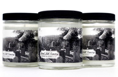 This fragrance is brisk, like newly over turned dirt with notes of sweet balsam combined with fresh tall grasses and cedarwood. Both earthy and airy, this candle evokes the sense of wandering through headstones on a damp fall morning.