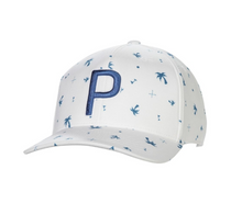 PUMA Golf Palms Pattern Snapback Cap Hat - Digi Blue / Bright White HAT-CO-06