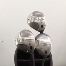 Callaway Steelhead / III Wood Set 3,5,7 Graphite Stiff Flex Right-Handed 86234G