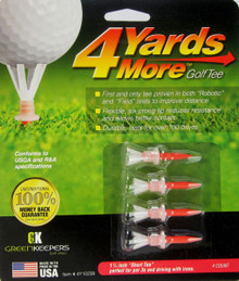 "4 Yards More Golf Tee - 4 Pack - 1 3/4"" Short Iron Height - Red GT-11925"