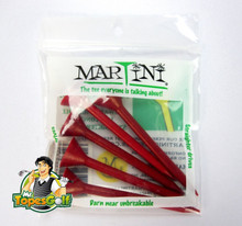 "Martini Tees - 5 Pack - 3 1/4"" Color Red - Longer & Straighter Drives GT-11993"
