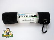 """Microfiber Greens Towel perfect 15""""x15"""" size incl. golf bag carabiner clip GT-16401"""