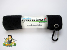"Microfiber Greens Towel perfect 15""x15"" size incl. golf bag carabiner clip GT-16401"