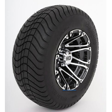 "12"" STI HD3 Machined/ Black Wheels and 23"" Slasher GFX DOT Street Tires - Set of 4"