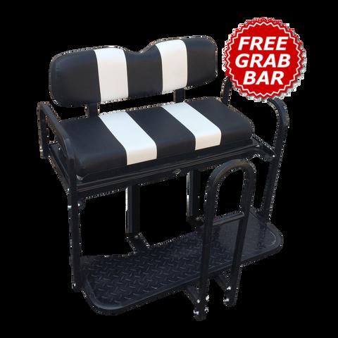 EZGO TXT Rear Seat Flip Seat Kit - Black & White Two Tone (w/ Front Seat Cover + FREE Grab Bar)
