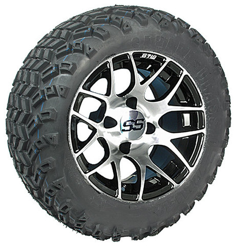 """12"""" GTW Pursuit Machined/Black Wheels and 23"""" All Terrain Tires Combo"""