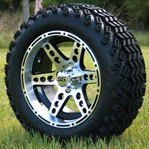 """14"""" DOMINATOR Machined/Black Wheels and 23x10-14"""" DOT All Terrain Tires Combo"""