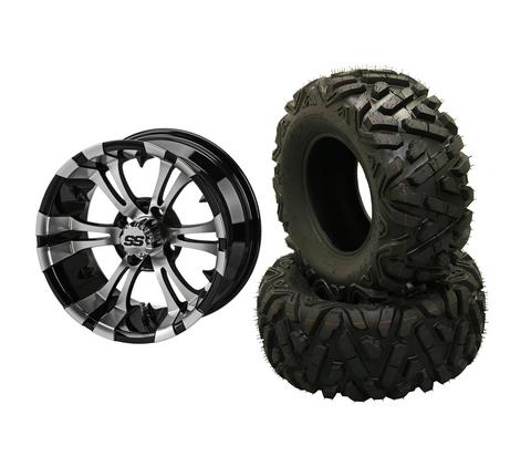 "12"" VAMPIRE Machined/ Black Aluminum Wheels and 25"" EXTREME Terrain Tires Combo - Set of 4"