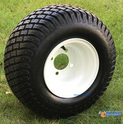 "8"" White Steel Golf Cart Wheels and 18x8.50-8"" Turf/ Street Tires Combo"