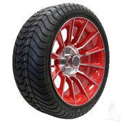 "15"" RHOX AC603 Machined/ RED Wheels and Innova Driver 205/35R-15"" DOT Tires Combo"