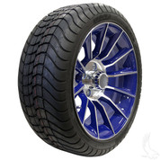 "15"" RHOX AC603 Machined/ BLUE Wheels and Innova Driver 205/35R-15"" DOT Tires"