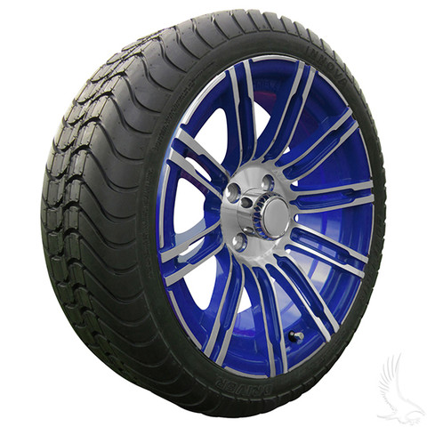 """15"""" RHOX AC602 Machined/ BLUE Wheels and Innova Driver 205/35R-15"""" DOT Tires Combo"""