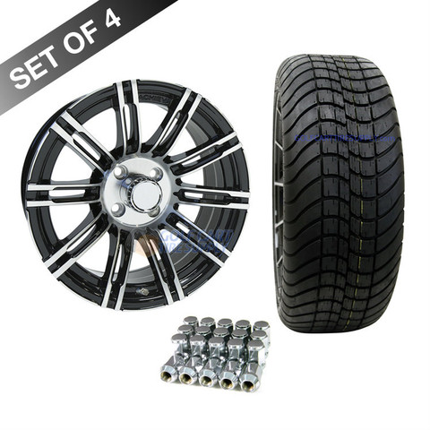 "15"" RHOX AC538 Machined/ Black Wheels and Innova 205/35R-15"" DOT Tires Combo"
