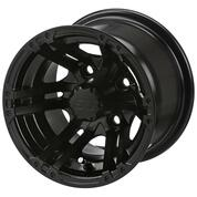 "10"" TERMINATOR MATTE BLACK Aluminum Golf Cart Wheels - Set of 4"