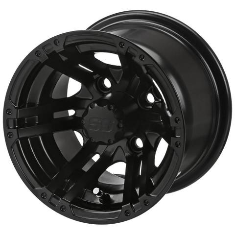 "10"" TERMINATOR MATTE BLACK Aluminum Golf Cart Wheels - Set of 4"