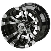 "10"" VAMPIRE Machined/ Black Aluminum Golf Cart Wheels - Set of 4"
