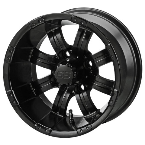 "10"" TEMPEST MATTE BLACK Aluminum Golf Cart Wheels - Set of 4"