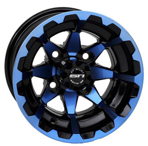 "10"" STI HD6 RADIANT BLUE/ Black Aluminum Golf Cart Wheels - Set of 4"
