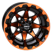 "10"" STI HD6 RADIANT ORANGE/ Black Aluminum Golf Cart Wheels - Set of 4"