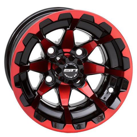 "10"" STI HD6 RADIANT RED/ Black Aluminum Golf Cart Wheels - Set of 4"