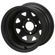 "12"" BLACK Steel Golf Cart Wheels - Slotted - Set of 4"