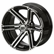 "12"" TERMINATOR Machined/Black Aluminum Golf Cart Wheels - Set of 4"