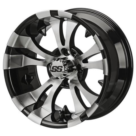 "12"" VAMPIRE Machined/ Black Aluminum Golf Cart Wheels - Set of 4"