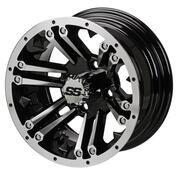 "12"" RAIDER Machined/Black Aluminum Golf Cart Wheels - Set of 4"