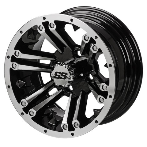 "12"" RAIDER Machined/Black Aluminum Golf Cart Wheels - Set of 4"