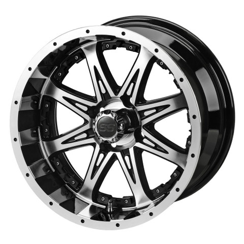 "12"" REVENGE Machined/ Black Aluminum Golf Cart Wheels - Set of 4"
