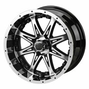 "12"" REVENGE Machined/ Black Aluminum Golf Cart Wheels - Set of 4"