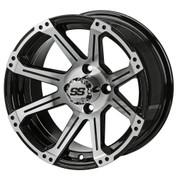 "12"" RAMPAGE Machined/ Black Aluminum Golf Cart Wheels - Set of 4"