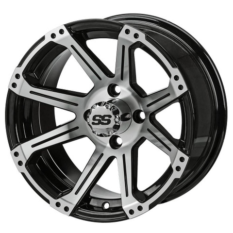 "12"" RAMPAGE Machined/ Black Aluminum Golf Cart Wheels - Set of 4"