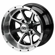 "12"" TREMOR Machined/ Black Aluminum Golf Cart Wheels - Set of 4"