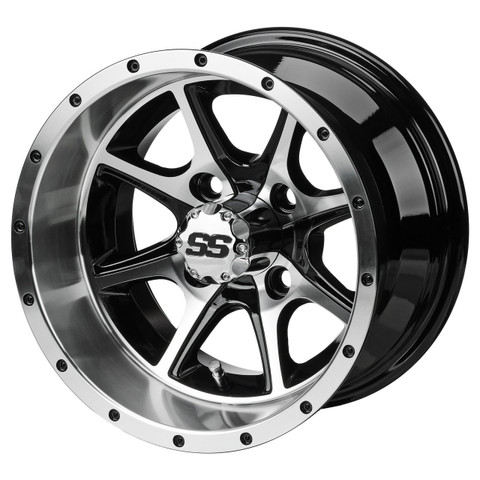 "12"" TREMOR Machined/ Black Aluminum Golf Cart Wheels - Set of 4"
