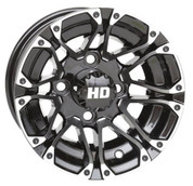 "10"" STI HD3 Machined/ Black Aluminum Golf Cart Wheels - Set of 4"