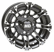 "10"" HD3 Machined/ Black Aluminum Golf Cart Wheels - Set of 4"