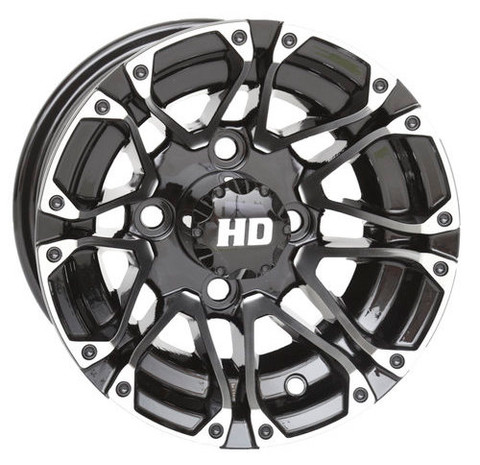 "10"" HD3 Machined/ Black Aluminum Golf Cart Wheels - Set of 4"