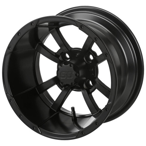 "12"" STORM TROOPER Matte Black Aluminum Golf Cart Wheels - Set of 4"