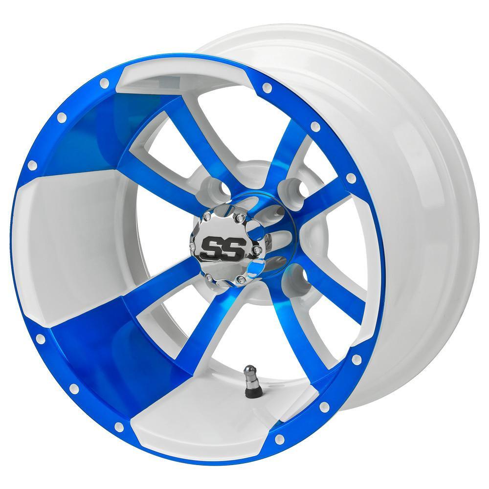 12 Storm Trooper White Blue Golf Cart Wheels Set Of 4 Golf Cart Tire Supply