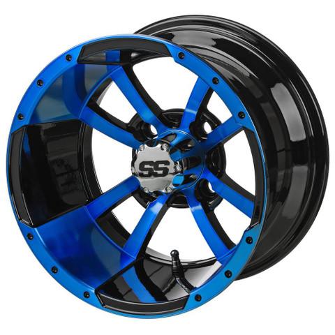 """12"""" STORM TROOPER Black/BLUE Aluminum Golf Cart Wheels - Set of 4"""