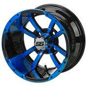 "12"" STORM TROOPER Black/BLUE Aluminum Golf Cart Wheels - Set of 4"