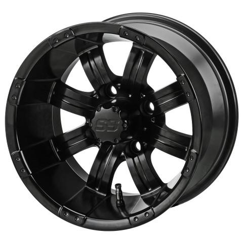 """12"""" TEMPEST Matte Black Aluminum Golf Cart Wheels - Set of 4"""
