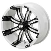 "12"" TEMPEST White/ BLACK Aluminum Golf Cart Wheels - Set of 4"
