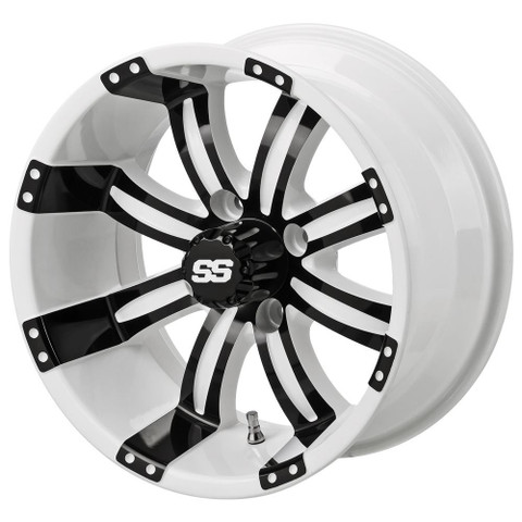 "12"" TEMPEST White/ BLACK Aluminum Golf Cart Wheels - Set of 4"